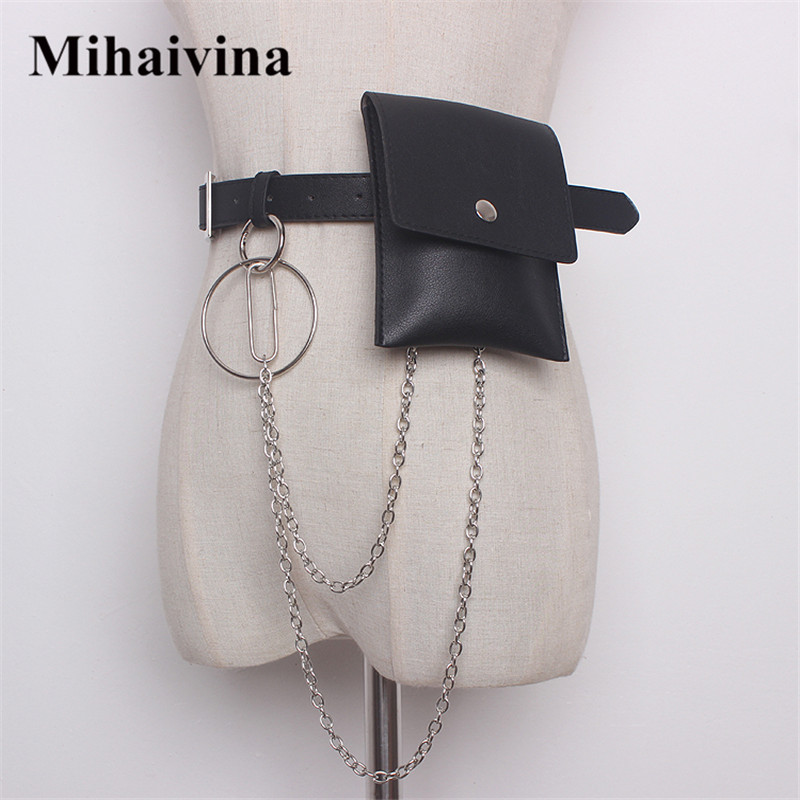 Mihaivina Women Waist Bag Leather Female Belt Chain Bags Fashion Fanny Pack Waist Belt Bag Female Hip Belt Bum Pouch Phone Bags dancer feather faux pearl waist belt chain