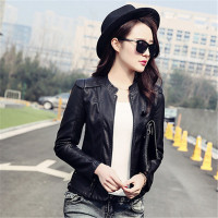 2017 Spring Ladies Motocycle Jacket PU Slim Black Red Elegant New Streetwear Women Basic Coats M 3XL
