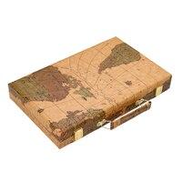 Tabuleiro de Gamão Em madeira Brinquedos Viajar 15 polegada grande Portátil Dobrável de Luxo Caixa de Couro do PLUTÔNIO Moda World Map Projeto