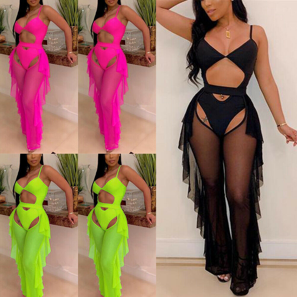 New Style Women Set Sexy Ladies Sleeveless Mesh Perspective Ruffles Solid See Through Casual Hollow Out Fashion Hot 2020