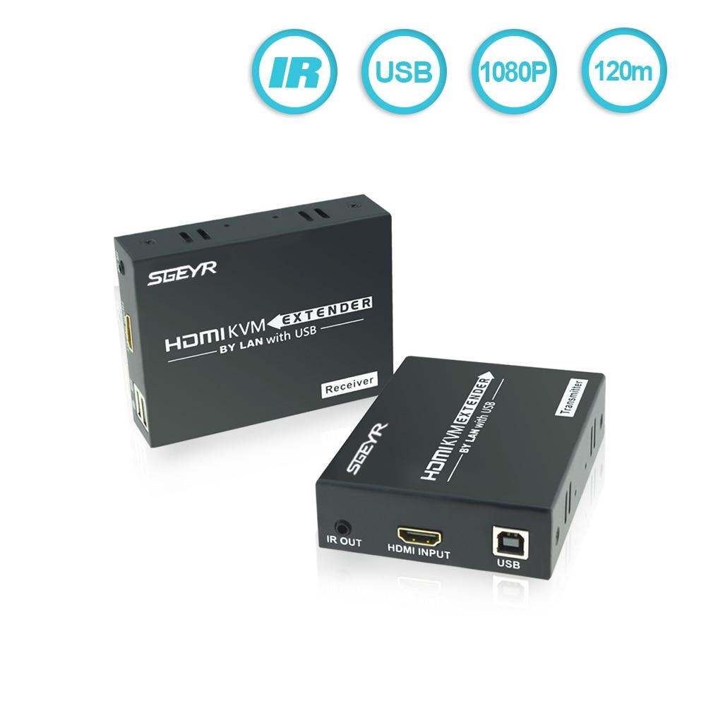 SGEYR HDMI USB KVM Extender 120m,HDMI KVM Extender Over Single cat5e/cat6 Ethernet IR Extender Support 1080P HDCP,Keyboard Mouse wireless hdmi 2 0 hdbt kvm extender ethernet transmitter receiver 100m over cat6 support 4k 2k 3d poe hdcp 2 2 rs232 hd baset