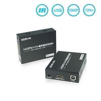 SGEYR HDMI USB KVM Extender 120m,HDMI KVM Extender Over Single cat5e/cat6 Ethernet IR Extender Support 1080P HDCP,Keyboard Mouse