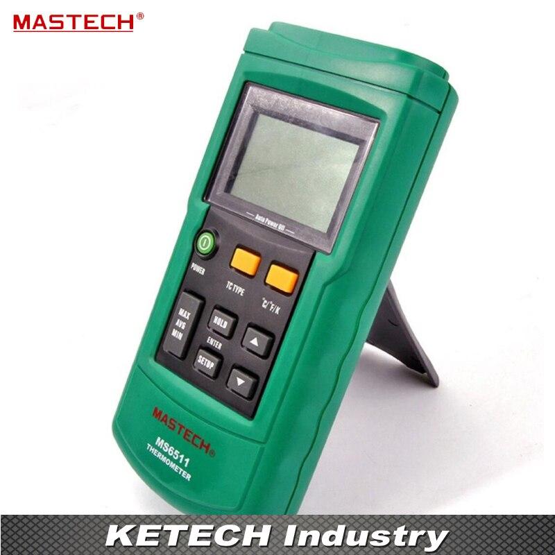 Single Channel Digital K,J,T,E Thermometer MS6511 mastech ms6514 dual channel digital thermometer temperature logger tester usb interface 1000 set data k j t e r s n thermocouple