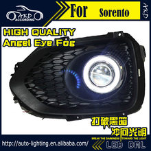 Car Styling Angel Eye Fog Lamp for Kia Sorento LED DRL 2009-2012 DRL LED Fog Light CCFL Xenon Option Automotive Accessories