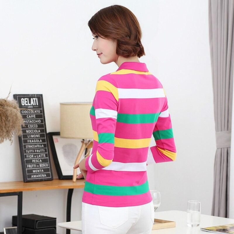 Ruoru M 4XL Plus Size Striped Women Polo Fashion Slim Striped Polo Shirt Women Autumn Winter Long Sleeve Polo Femme Casual in Polo Shirts from Women 39 s Clothing