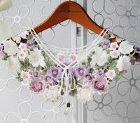 High Quality Women Beautiful Lace Collar Colored Flower DIY Embrodiery Lace Collar Sewing Craft Neckline Trimming