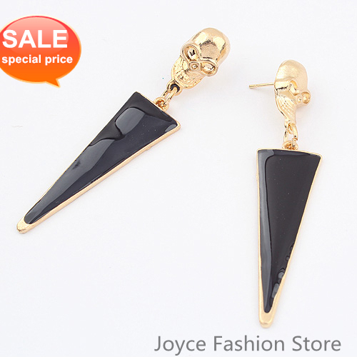 Min Order $10 Fashion Designer Jewelry,Charms Skull Stud Earrings,Punk Style Triangle Earrings,Vintage Accessories For Women E83