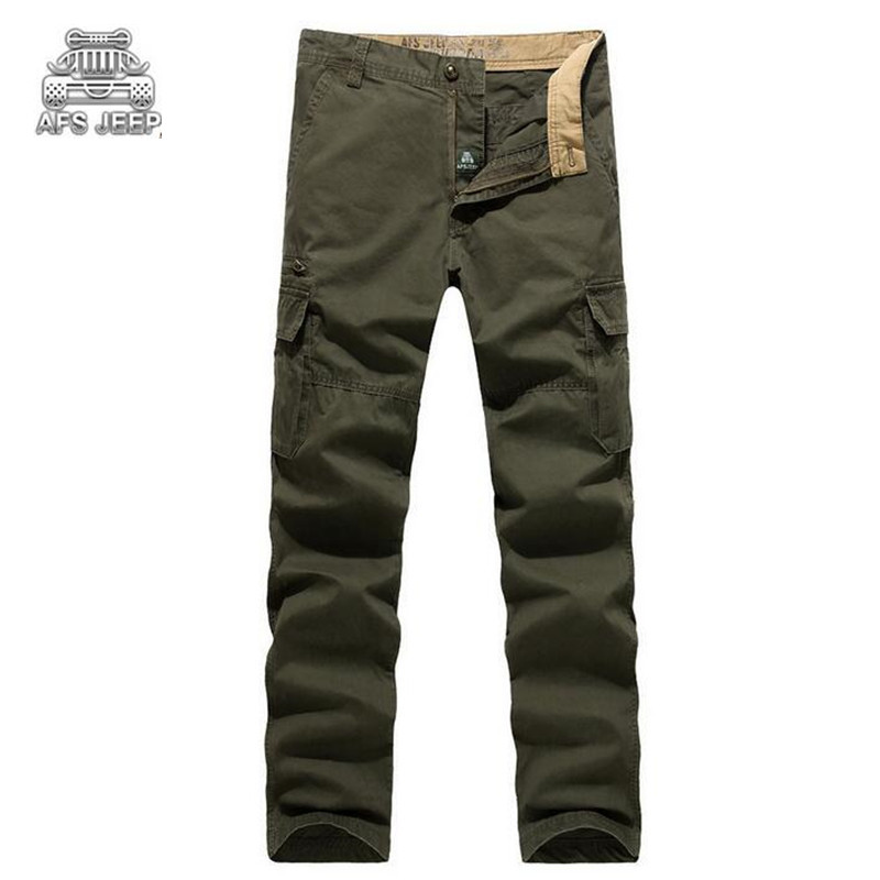 Multi-pocket Plus Size 44 Loose Afs Jeep Brand Fashion Cargo Pants Spring Thin Mens Joggers Casual Militar Style Trousers Homme afs jeep 2017 fashion denim pants mens thin cropped trousers overalls jeans man loose jeans mans wear plus size 38 40 42 44