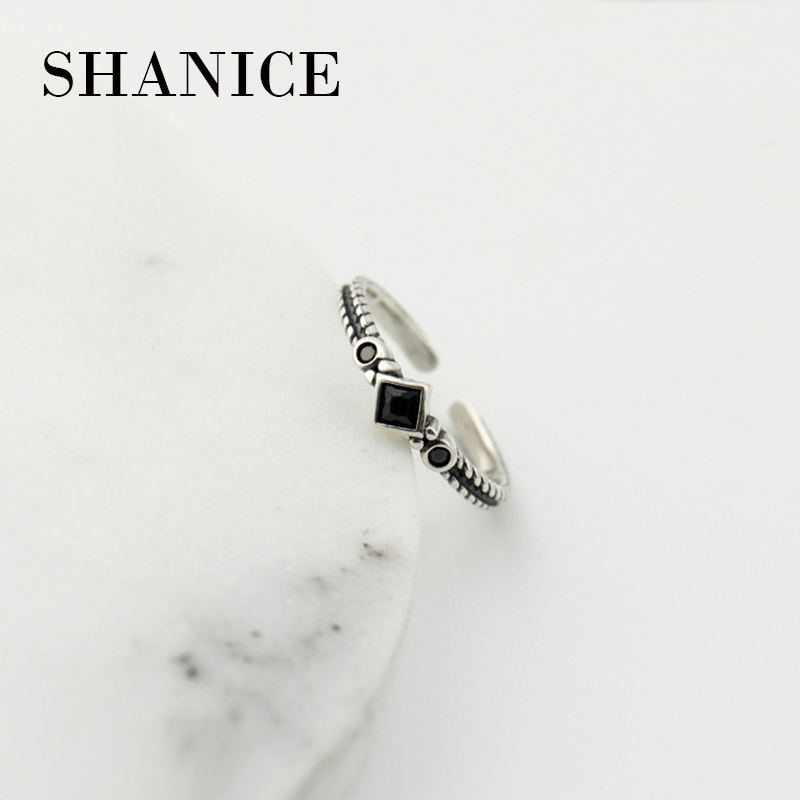 SHANICE Retro Sterling-Silver-Jewelry Black Crystal 925 Sterling Silver Open Rings For Women With Stone CZ Fashion Ring
