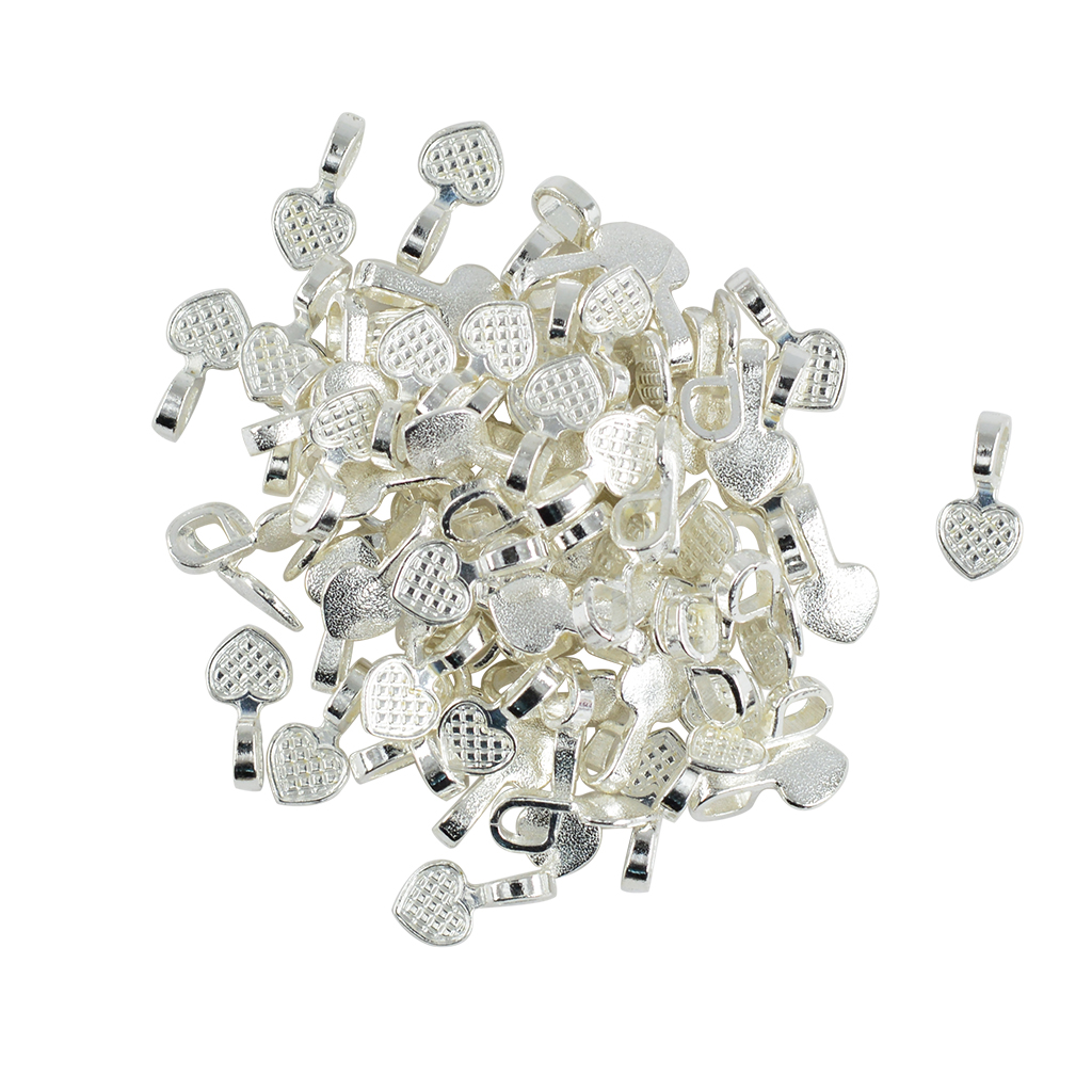 100 Pieces Silver White Heart Glue On Bails Pendant Cabochon Jewellery Findings DIY Makings