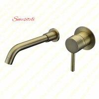 Smesiteli Wholesale Round Style Wall Mount Antique Bronze Single Handle Basin Sink Bathroom Faucet 2 Holes Mixer Hot & Cold Tap
