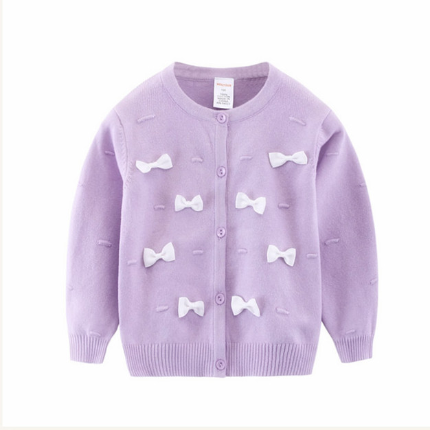 2017 New Toddler Girl's Purple Bow Knitted Thick Cotton Sweaters ...