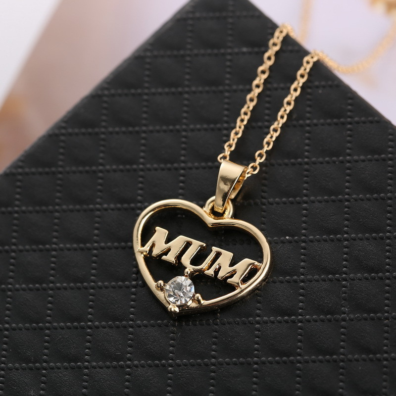 "ZN 2019 Gold Color Love ""Mum"" Crystal Heart Pendant Necklace Mother's Day Gifts for mother Sweater Chain Necklaces Best Gifts 29"