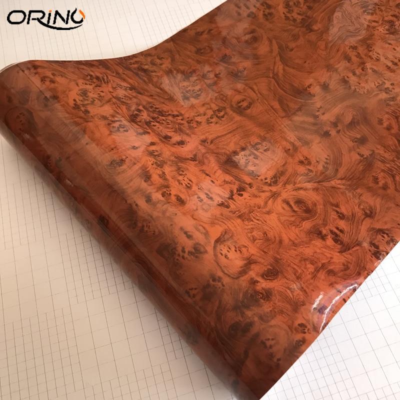 Glossy Wood Grain Vinyl Film Waterproof Film Wrap Car Interior Sticker Decals