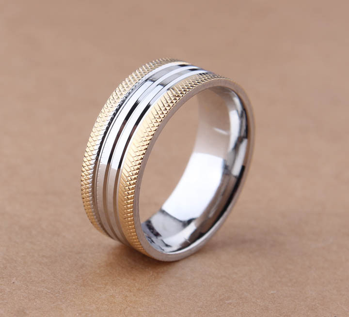 free shipping Wide 8mm Double Gold stripes Superior quality rings 316L Stainless Steel finger ring for men jewelry wholesale