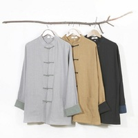 Autumn Chinese Folk Style Shirts Retro Frog Literary Pure Linen Men's Shirt Mandarin Collar Plus Size Male Clothing SY0010