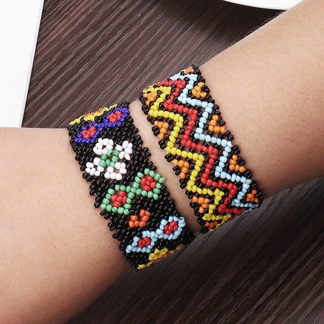 Pulsera de cuentas hecha a mano de Nepal pulsera de Amistad cuerda tejida personalizada Hippy Bohemia estilo pulsera elástica Mujer