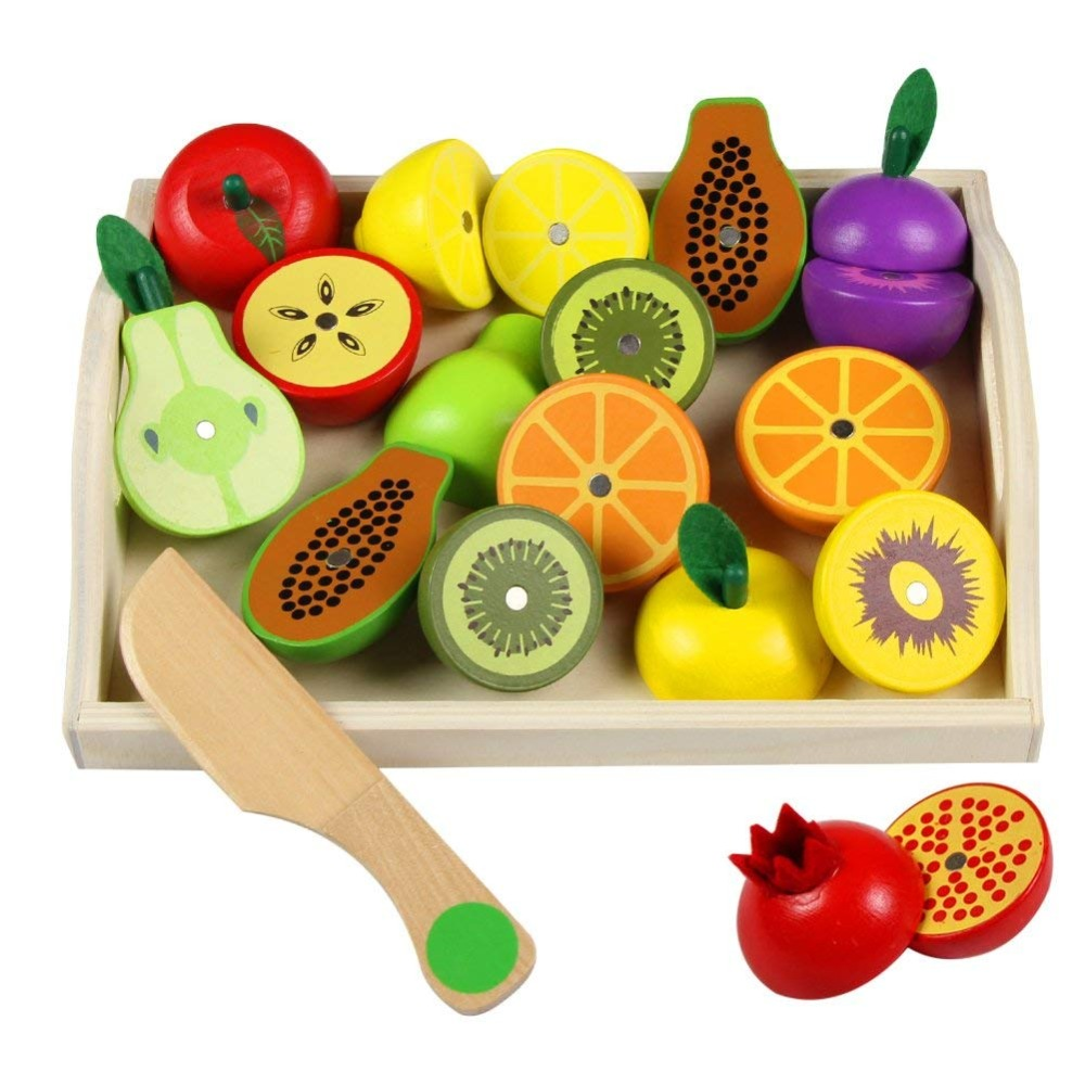 Wooden Fruit Cutting Vegetables Toys Magnetic Wooden Role Play Food Set Children Pretend Food Toy for Kids 3 4 5 6 7 Years Old