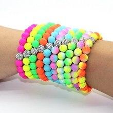 summer Fashion Women Bracelets Bangles Fluorescent Neon Infinity Cheap 10mm bead strand girl Bracelet Stretch Charm Jewelry