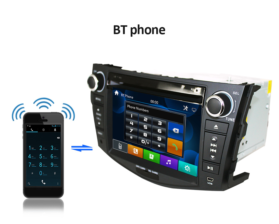 Top Eunavi Car DVD Player 2Din Car Radio For Toyota RAV4 2006 2007 2008 2009 2010 Steering Wheel control Touch screen GPS Navigation 3