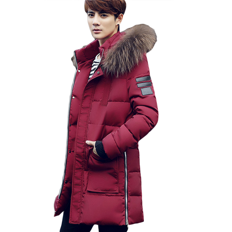 2018 New Fashion Winter Coat Men Warm Down Male Hooded Long Thickening Down Cotton Jackets Outwear Casual Solid Parkas CM1772 new pattern winter jacket men cotton padded loose coat long down thickening cotton oversize parka casual warm outwear