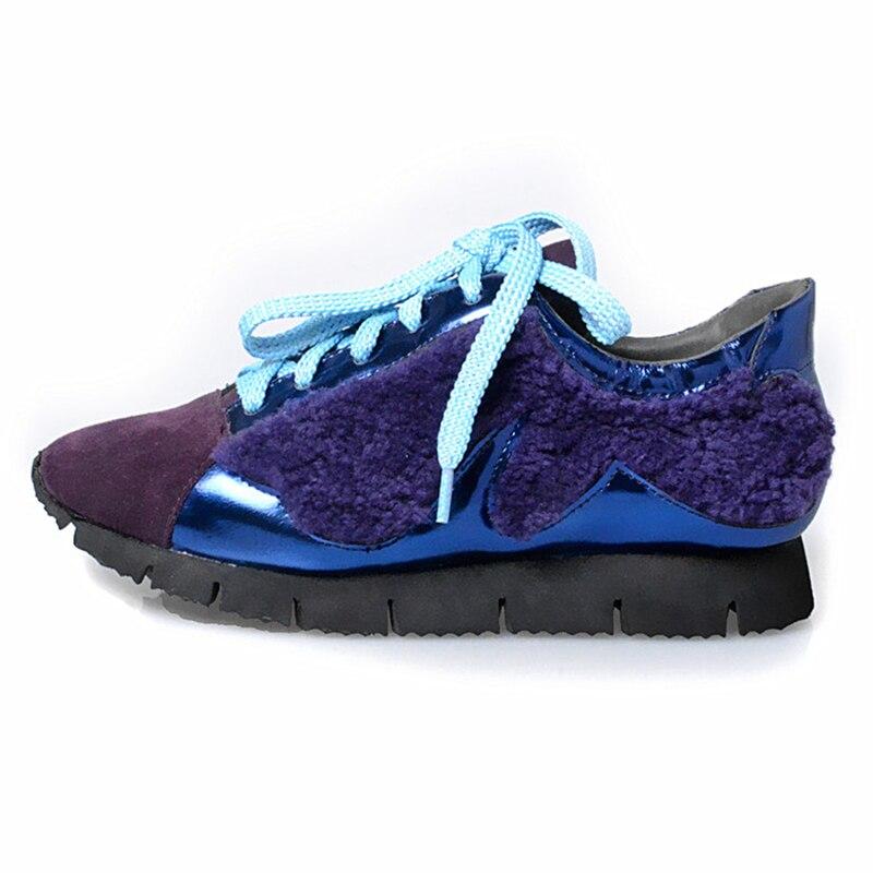 Mode 2018 En La Chaussures Prova red Naturel À Coréenne Casual Laine Cuir Hiver Simples Automne Perfetto Black Style Plates blue Femme 5xzwqTC