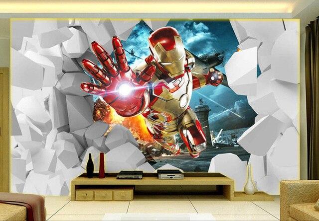 3d Iron Man Papier Peint Personnalise Etanche Photo Papier Peint