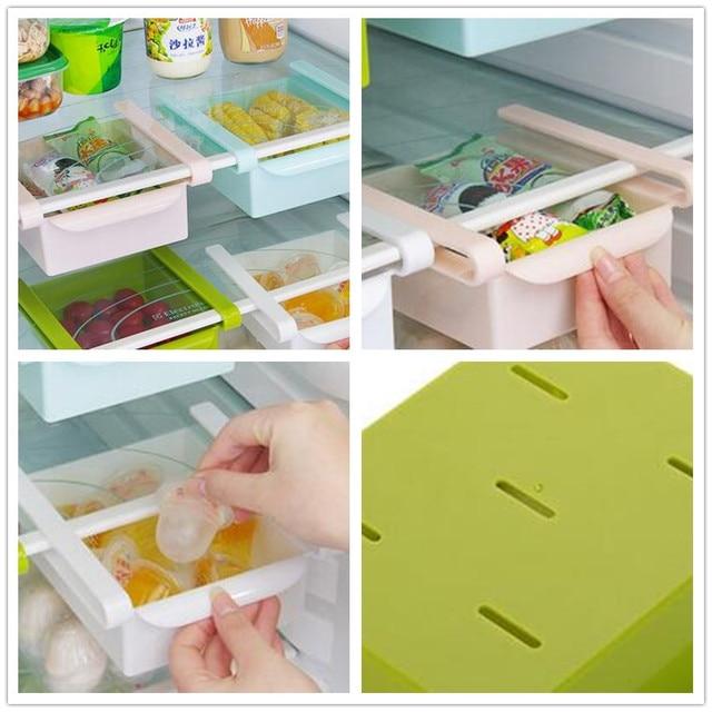 Plastic Kitchen Refrigerator Storage Rack Fridge Freezer Shelf Holder Pull- out Drawer Organiser Space saver & Plastic Kitchen Refrigerator Storage Rack Fridge Freezer Shelf ...