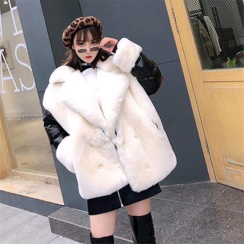 High end Women Winter Loose Imitation rabbit hair stitching women Parka Thick Warm Jacket Coat women coats Street leisure Jacket-in Parkas from Women's Clothing    2
