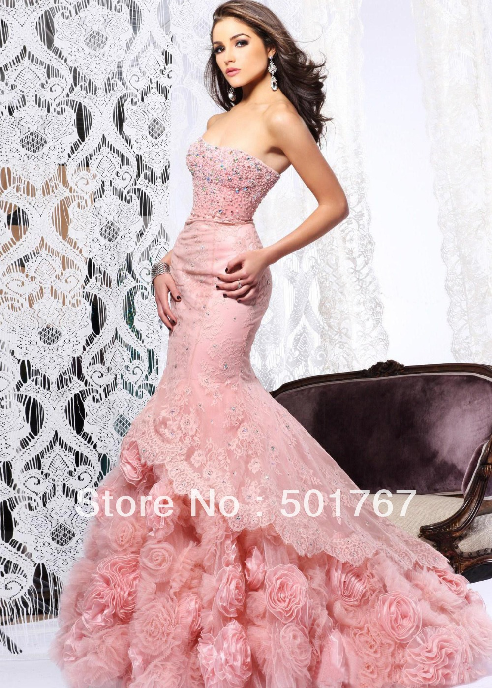 2014 latest designs luxury pink mermaid strapless crystals for Wedding dresses with roses on them