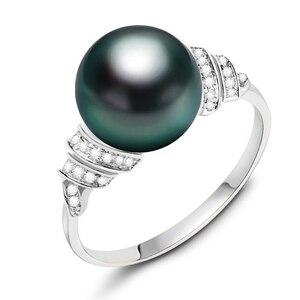Image 5 - YS 18 k 純金海水真珠のリング 11 12 ミリメートル黒真珠リングタヒチパールウェディングリング