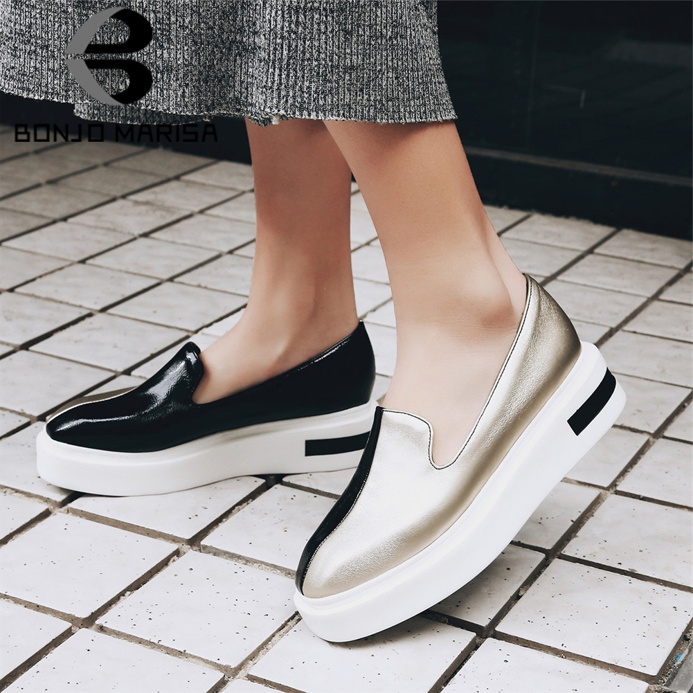 BONJOMARISA Brand New Mixed Colors Loafers Shallow Flat Platform Shoes Woman Casual Spring Autumn Flats Big Size 34-43