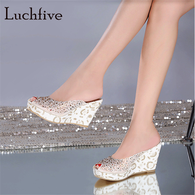 New fashion rhinestone women slippers sexy peep toe high wedge heels geninue leather female shoes leisure slip on summer 2018
