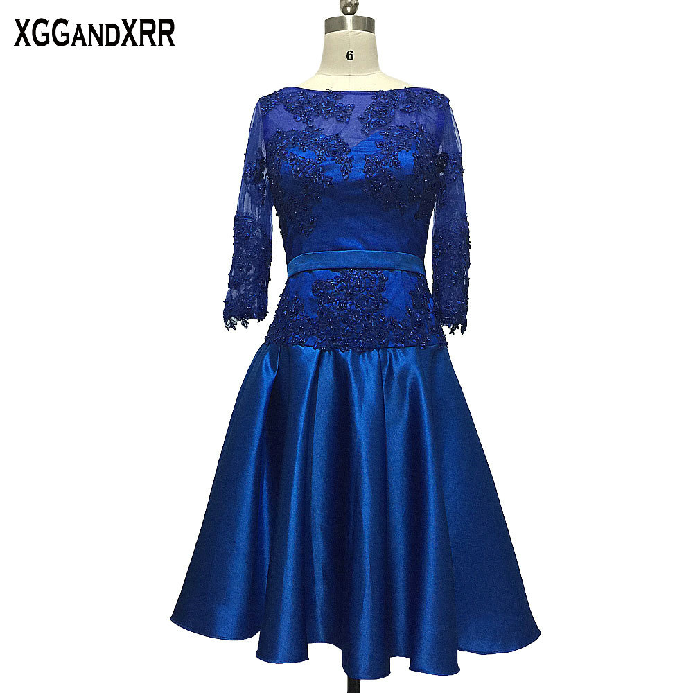 New Arrival Blue Satin Long Sleeves A-Line Mother Of The Bride Dresses 2017 Scoop Appliques Beaded Zipper Back Formal Party Gown