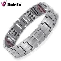 Rainso Mens Healing 4 Elements Balance Health Bracelet Silver Titanium Bracelets 8 5 Special Design OTB