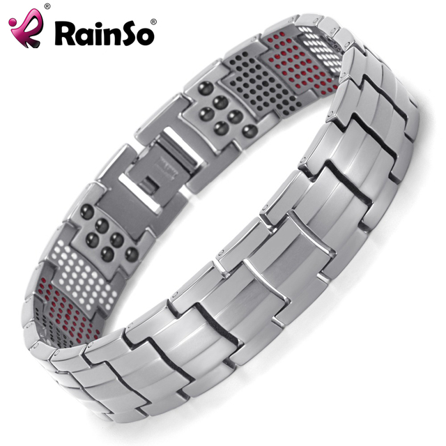 Rainso Men Jewelry Healing Magnetic Bangle Balance Health Bracelet Silver Anium Bracelets Special Design For Male