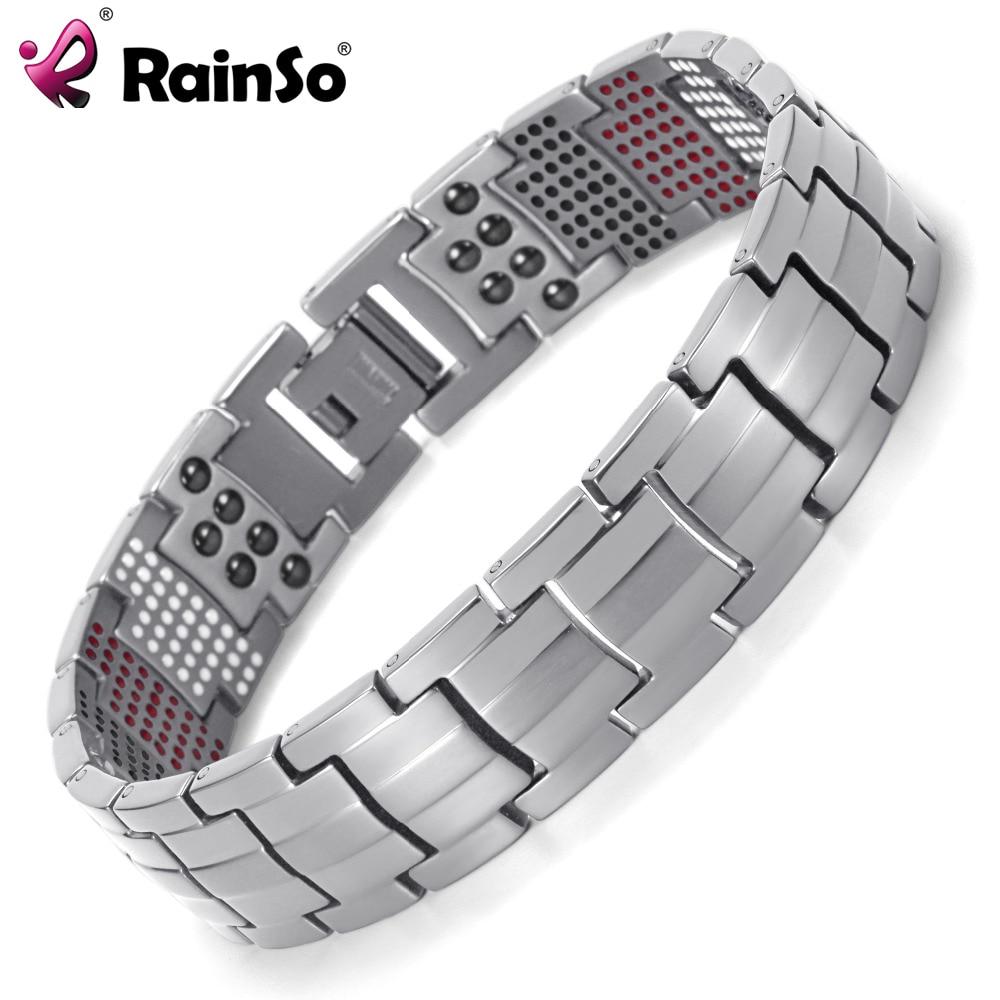 Rainso Men Jewelry Healing magnetic Bangle Balance Health Bracelet Silver Titanium Bracelets Special Design for Male