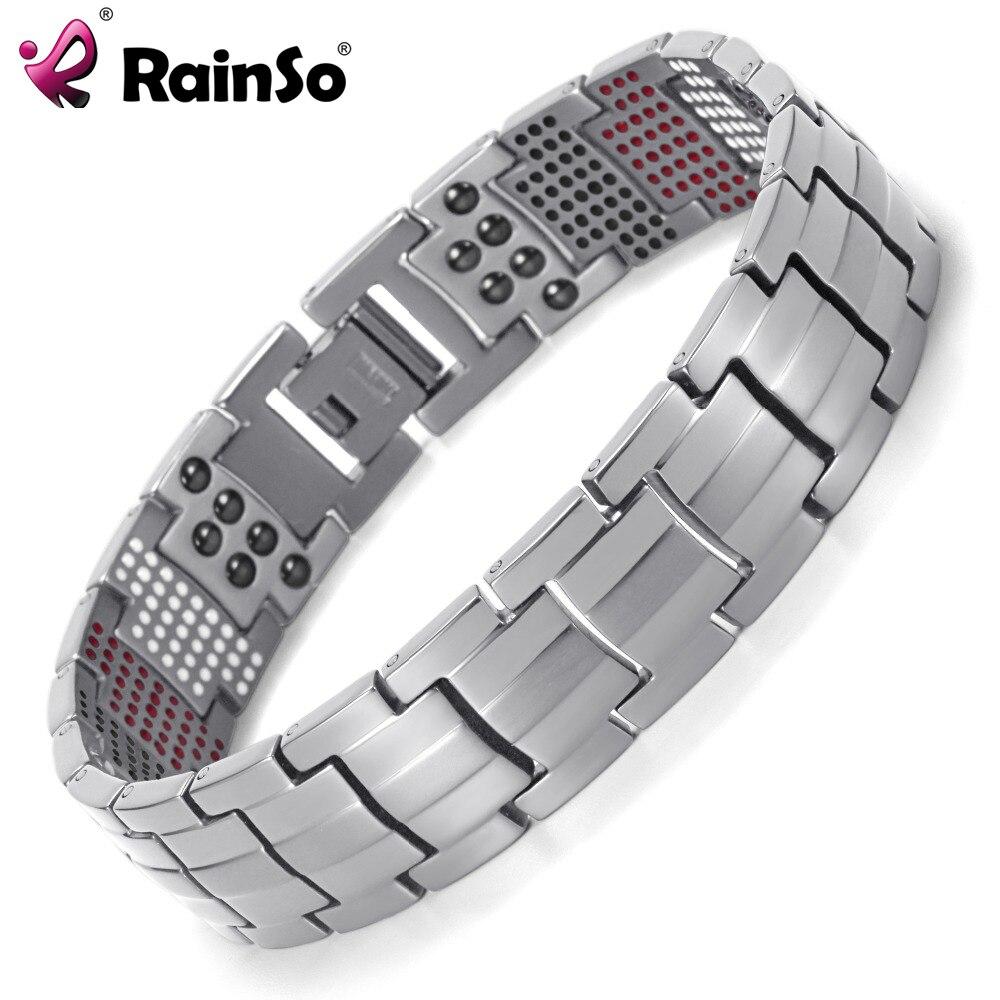 Prix pour Rainso hommes bijoux guérison magnétique bracelet équilibre santé bracelet argent titanium bracelets special design pour homme