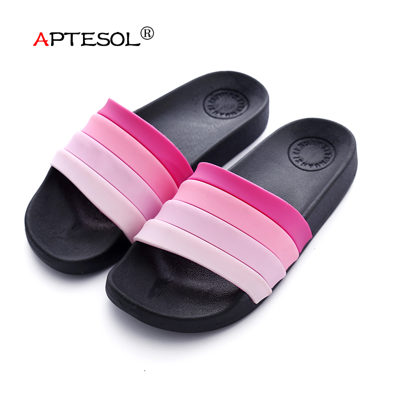 APTESOL Summer Women Fashion Indoor Slippers Daily Unisex Couple Casual Comfortable Shoes Women Bathroom Non-Slip Flip Flops new arrival fashion style couple wear shoes striped men women winter time slippers indoor wear unisex good quality comfortable