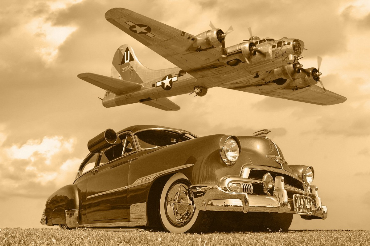 B17 car aircrafts lowrider classic military flight sepia monochrome ...