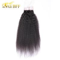 ALI BFF Kinky Straight Lace Closure Brazilian Hair 4x4 Kinky Straight Hair Lace Closure With Baby Hair 100% Non Remy Human Hair