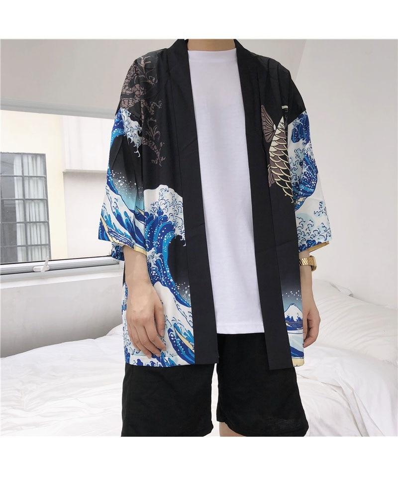 HTB1UVvplWQoBKNjSZJnq6yw9VXa6 Zongke Japanese Kimono Cardigan Men Wave and Carp Print Long Kimono Cardigan Men Thin Mens Kimono Cardigan Jacket Coat 2018