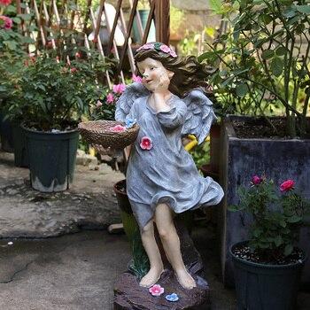 Garden Decoration Courtyard Decor Angel Girl Holding A Basket Garden Park Landscape Outdoor Landscape Sculpture Resin Sculpture