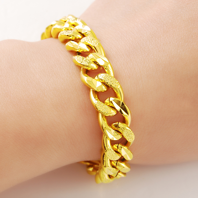 9mm 8inch Fashion Russian Runway Chains Link Bracelet 24k Gold Gp Bangle Yellow Color Men S Jewelry In Chain Bracelets From