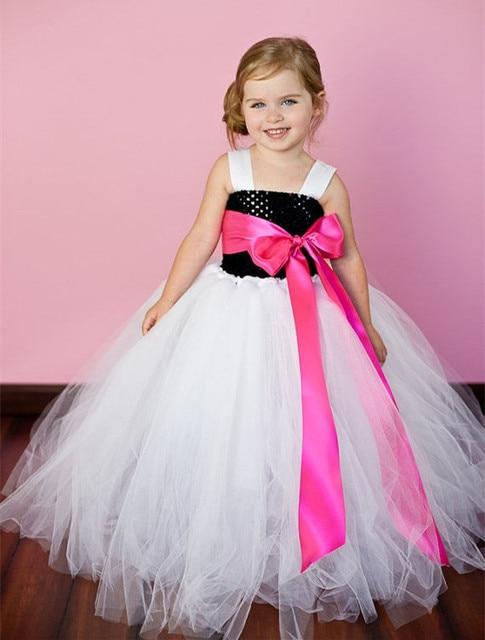 Black White Princess Girl Tutu Dress Flower Girl Dress Girl Party