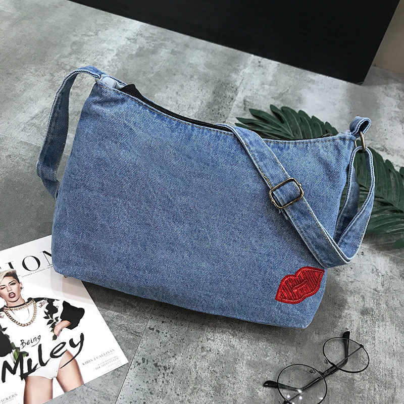 Vintage Jeans Flap Simple Denim Women Kiss Appliques HandBags Crossbody Messenger purse Shoulder Bag carteira bolsa feminina