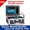 "Eyoyo Original 50M Underwater Infrared Fishing Camera Night Vision Fish Finder 7""Monitor 1000TVL HD CAM 12pc Infrared lights"