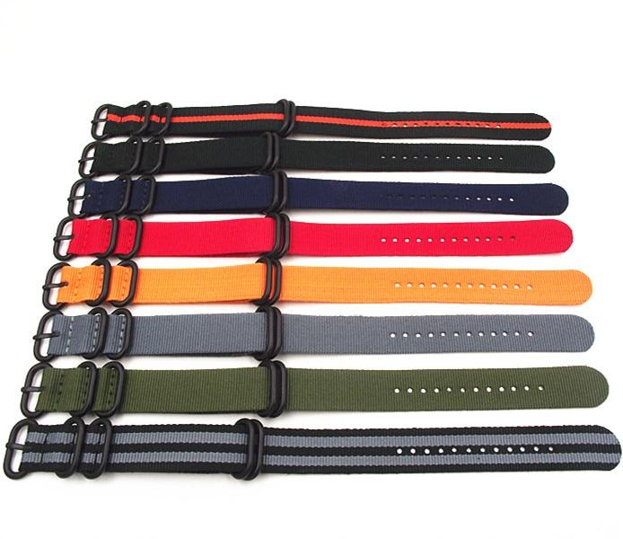 Prix pour En gros 10 PCS/lot Heavy duty sangles en nylon 18mm 20mm 22mm 24mm Nylon bande de Montre OTAN bracelet zulu montre bracelet sangle anneau boucle