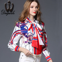 2017 Vintage Bow Tie Tops Plus Size Brand Women Clothing High End Silk Printed Shirts Casual
