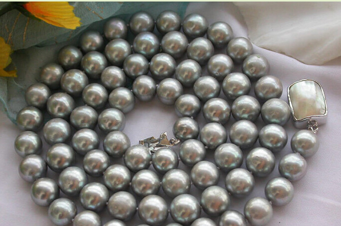 Charming HUGE REAL 32 12mm ROUND GRAY PEARL NECKLACE Charming HUGE REAL 32 12mm ROUND GRAY PEARL NECKLACE